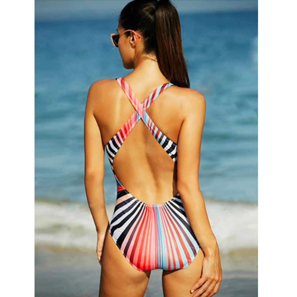One Piece Swimsuit 2017 Sexy Swimwear Women Bodysuit Suit Swim Retro Vintage Beach Wear Stripes Print Bandage Monokini Swimsuit women solid one piece swimsuit halter backless bandage bodysuit monokini deep v neck sexy high waist vintage beach wear