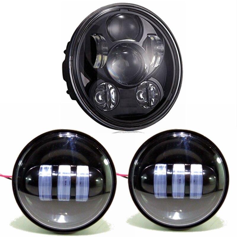 3шт черный круглый 5.75 дюйма 45w мотоцикл светодиодные фары плюс 4,5 дюйма светодиодные Противотуманные фары для Harley Дэвидсон