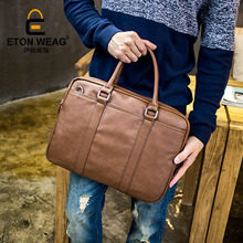 ETONWEAG New 2017 men famous brands cow leather brown document crossbody bags vintage business style laptop messenger bags