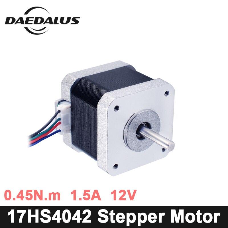 купить 17HS-4042 Nema17 Stepper Motor 1pcs 4-lead Nema 17 Stepper Motor 42 Motor 0.45N.m 1.5A For 3D Printer And CNC XYZ по цене 322.31 рублей