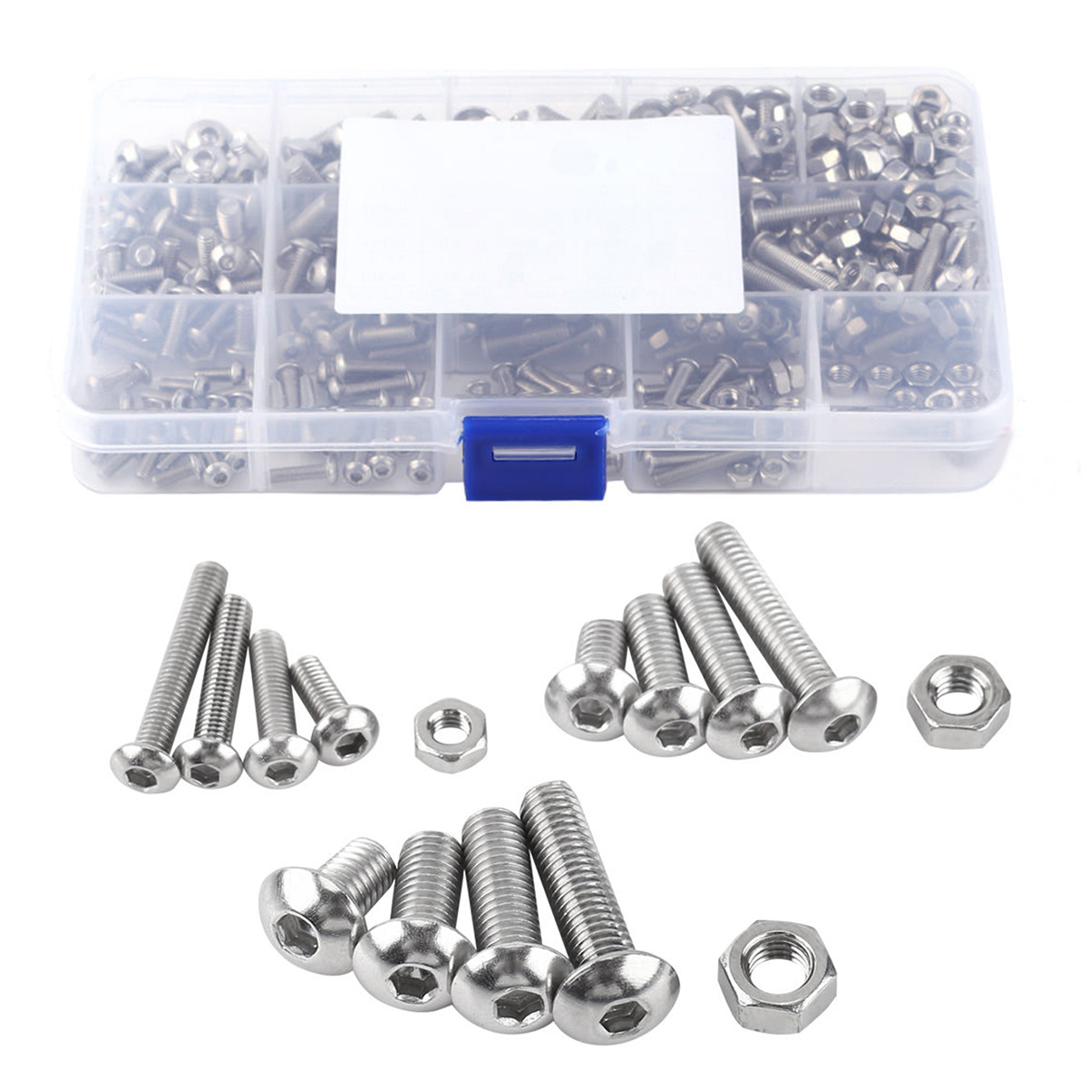 440pcs Hex Socket Button Head Bolts M3 M4 M5 Stainless Steel Metric Screws Nuts Assortment Kit Set with Plastic Box m3 m4 m5 steel head screws bolts nuts hex socket head cap and nuts assortment button head allen bolts hexagon socket screws kit