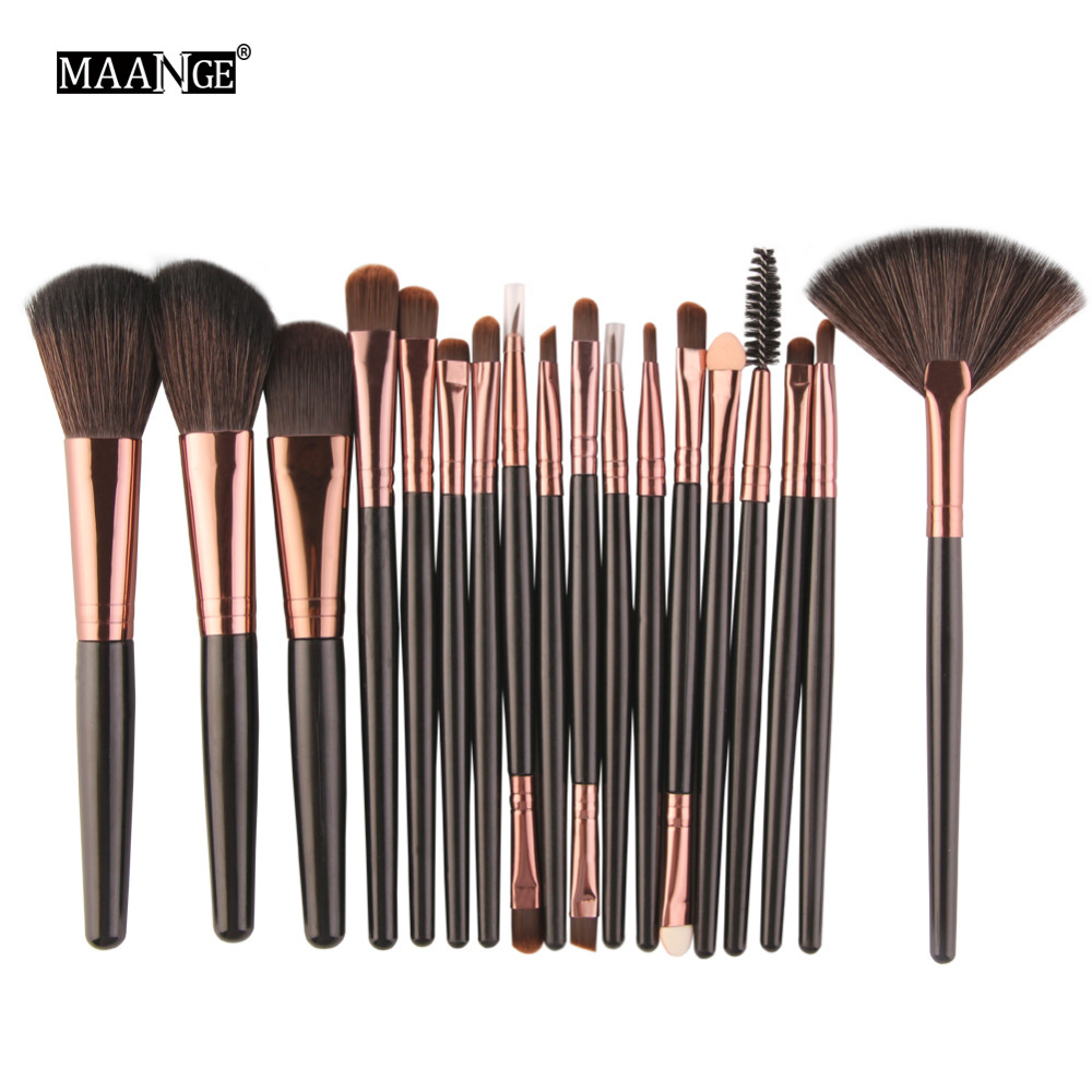 MAANGE Pro 15/18Pcs Cosmetic Makeup Brushes Foundation Eyeshadow Eyeliner Lip Fan Make-Up Multipurpose Eye Brushes &Cosmetic Bag