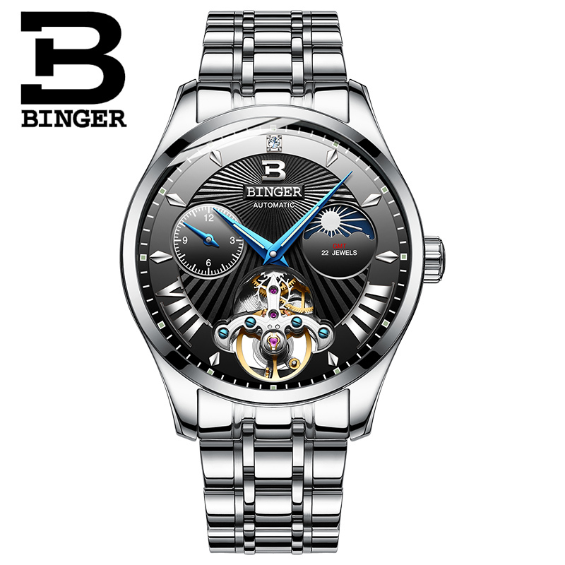 Switzerland Mechanical Watch Men Binger Role Luxury Brand Men Watches Skeleton Wrist Sapphire Men Watch Waterproof B-1186-3 wrist switzerland automatic mechanical men watch waterproof mens watches top brand luxury sapphire military reloj hombre b6036