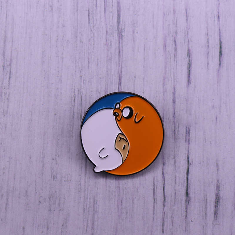 Finn En Jake Yin Yang Enamel Pin Adventure Time Geborduurde Broche Pin