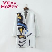 2015 Trench Coat Women Coat Graffiti Print V-Neck Space Cotton     Spring Autumn Coat   Plus Size outer garment