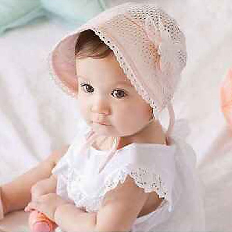 2017 Sweet Lovely Cute Princess Children Kids Girls Baby Hat Beanie Pink New Lace Floral Caps