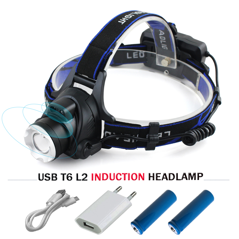 IR Capteur zoom Led Phare cree xm l2 t6 Induction de Phare étanche lampe de Poche 18650 lumière USB rechargeable Tête lampe