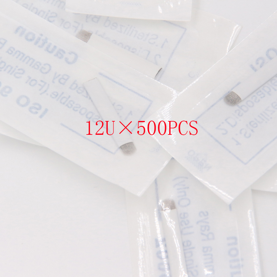 500 PCS 12 Pin U Shape Tattoo Needles Permanent Makeup Eyebrow Embroidery Blade For 3D Microblading Manual Tattoo Pen atomus 50pcs 12 14 pin permanent makeup eyebrow tattoo blade microblading needles for 3d embroidery manual tattoo pen machine