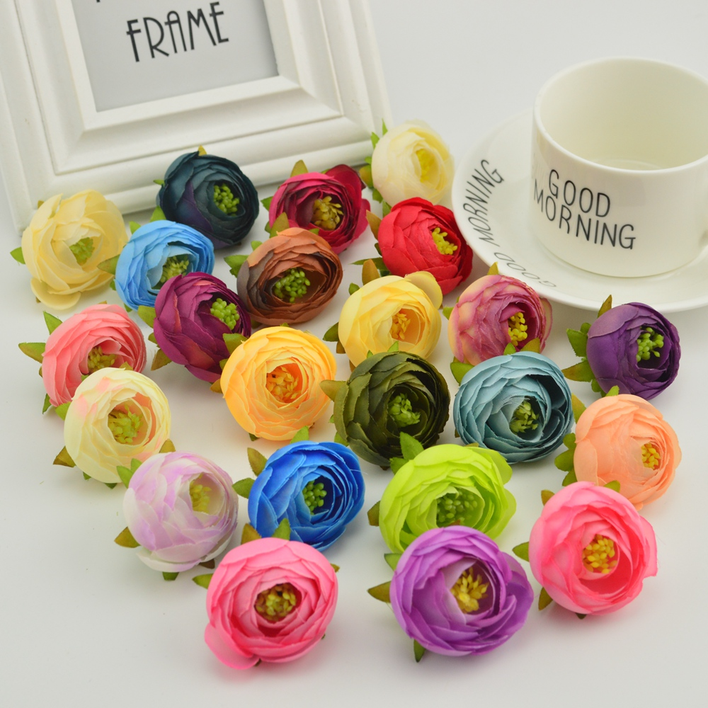 10pcs Silk rose tea bud Stamens For Home Pions wedding decoration accessories Pompon diy scrapbooking Artificial flowers cheap in Artificial Dried Flowers from Home Garden