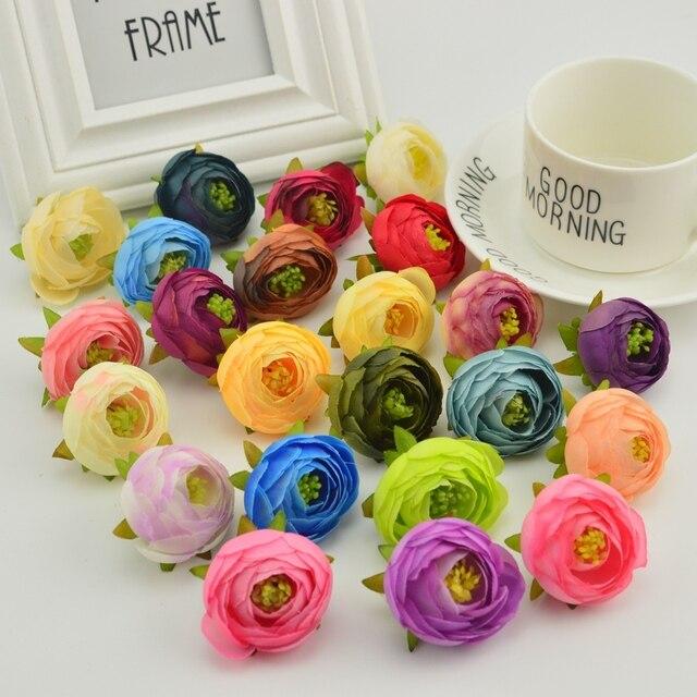 Pions 10 pcs Estames Seda rosa chá bud Para Casa acessórios de decoração de casamento Pompom diy scrapbooking flores Artificiais baratos