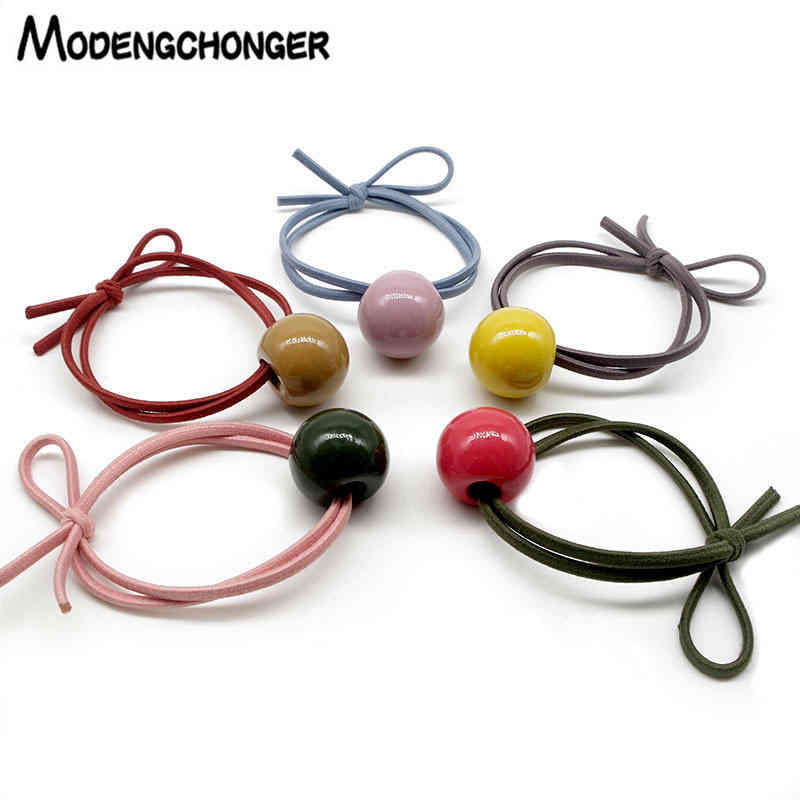 For Girls Color Bead Elastic Hair Bands Simplicity Hair Ties Big Round Ball Bow Knot Hair Rope Ponytail Holder Hair Accessories in Women 39 s Hair Accessories from Apparel Accessories