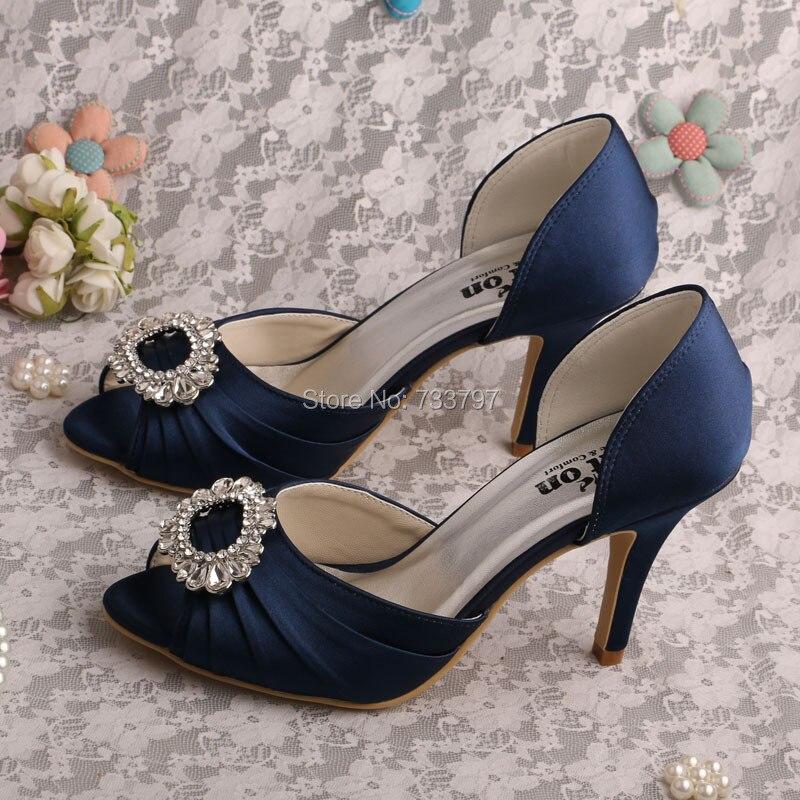 Wedopus Name Brand Women Dark Blue High Heel Shoes Wedding
