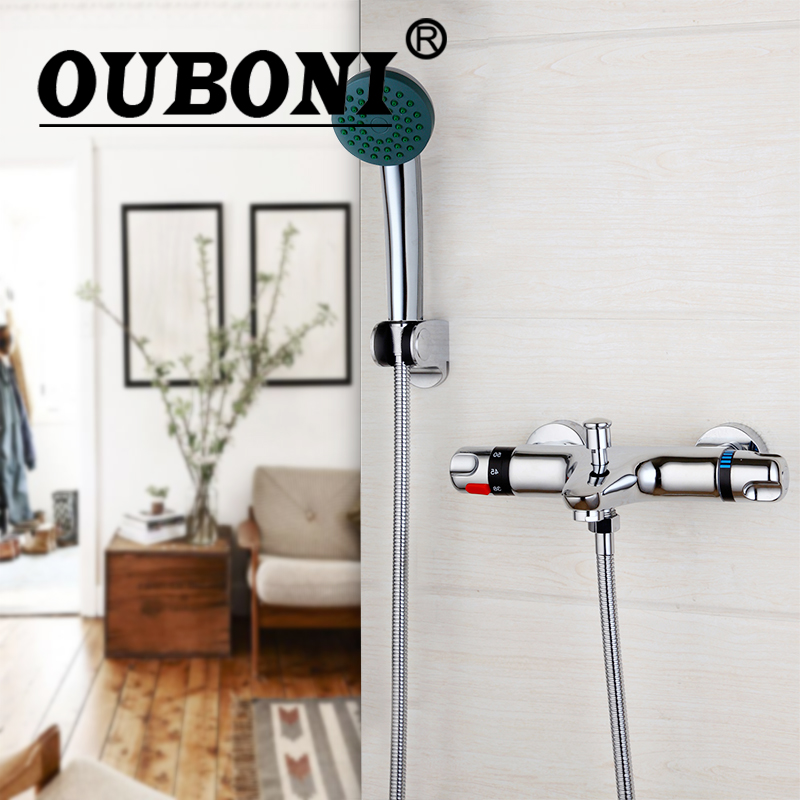 OUBONI Wall Mounted Thermostatic Mixer Taps Chrome Brass Bathtub Basin Faucet With Shower Hand Exposed Shower Faucet set polished chrome wall mount temperature control shower faucet set brass thermostatic mixer valve with handshower