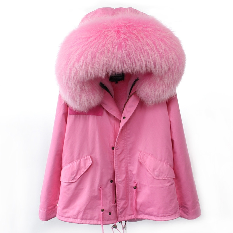 Brand 2017 Korean Style Army Green Thick Jacket Women Big Natural Real Raccoon Fur Hooded Parka With Fur Lining For Winter New new in stock 61 011 001