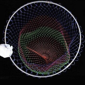 Nylonowe sieci rybackie składane narzędzia połowowe romb otwór siatki głębokość składane nylonowe lądowanie Dip netto 3 rozmiary