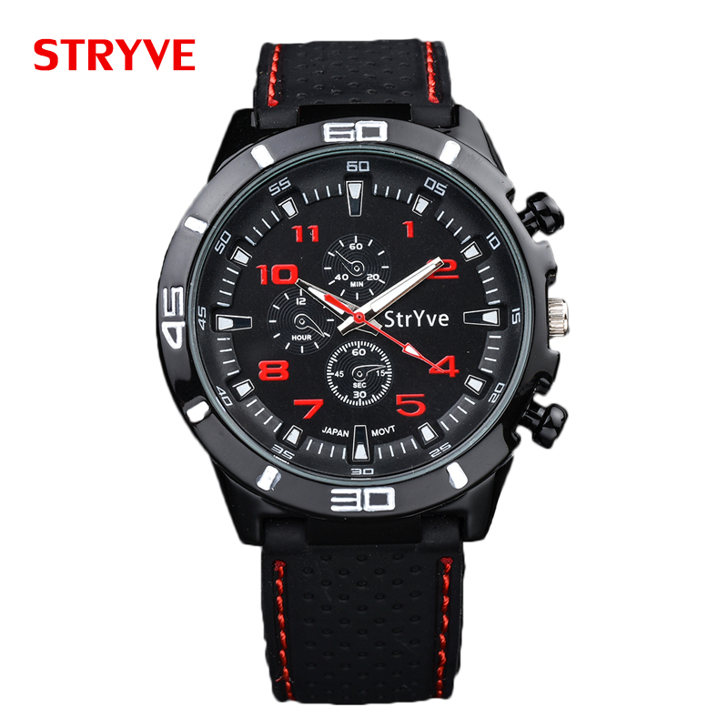 relogio masculino Stryve Brand Military Speed Racing Design Black Silicone Strap Japan Imported Movement Quartz Sport Men Watch gt watch uas flag f1 racing champion sport extreme men s military pilot uhren american inspired novelties silicone watch