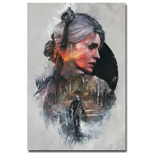 NICOLESHENTING The Witcher 3 Wild Hunt Hot Game Art Silk Poster 12x18 32x48inch Cirilla Geralt Picture for Home Wall Decor