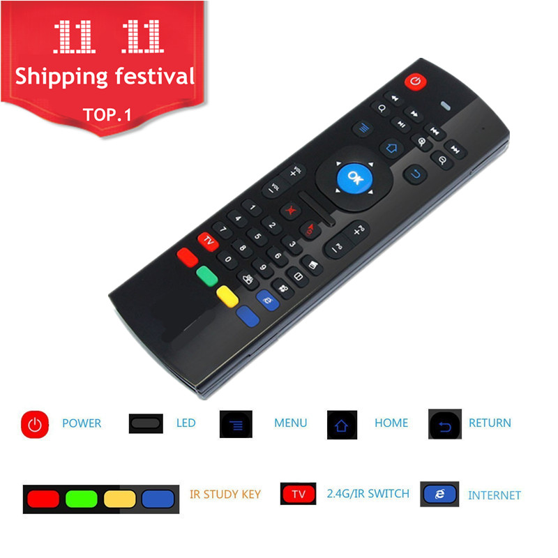 MX3 Fly Air Mouse 2.4GHz Wireless Mini Keyboard IR Learning Mode Remote Control For TV Box Motion Sensing Gamer Controller gk001 2 4ghz air mouse english keyboard for tv motion sensing game