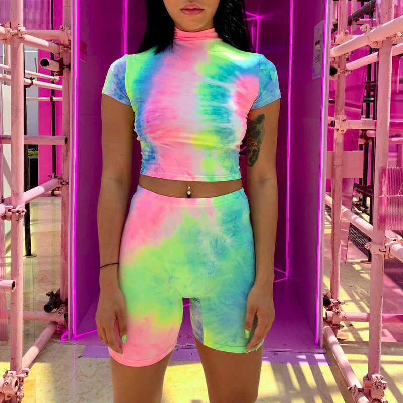 Toplook Tie Dye drukuj kobiet dwuczęściowy ustawia 2019 z krótkim rękawem Crop Tops spodenki wysokiej talii lato klub Streetwear pasujące zestawy