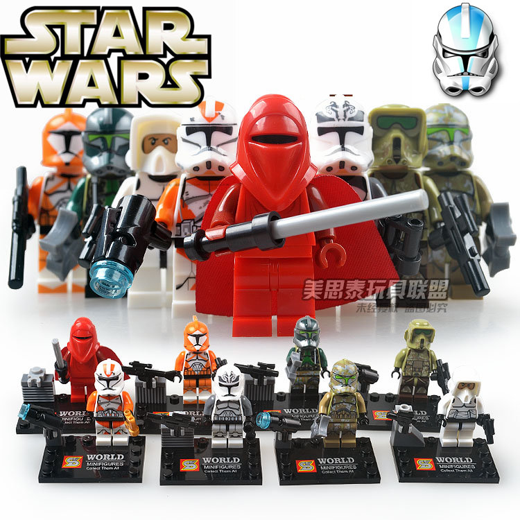 8pcs STAR WAR The Force Awakens Space Clone Snow Storm Troopers Royal Red Guard Assemble minifig Building Blocks Kids Toys 5pcs moc star wars mini soldiers clone troopers action figure rogue one building blocks minifig kids toys not include minifig