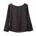 Женщины Шифон Блузки Рубашка мода 2016 новый раунд воротник camisa dot шифон волновой точки рубашку с длинными рукавами одежды Черный белый