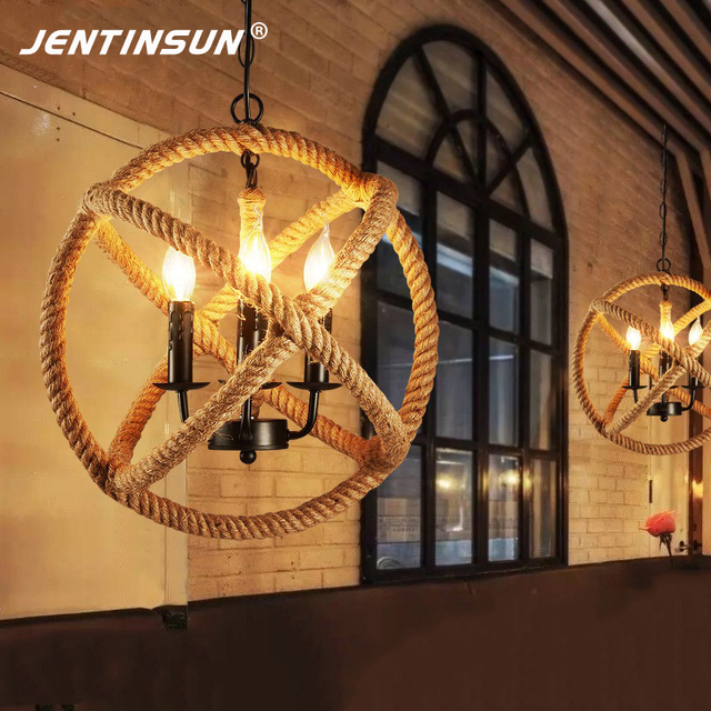 Amerikanischen Dorf Retro Industriellen Stil Pendelleuchte Woven Napier  Ball Lampen LED Hängeleuchten Für Restaurant Wohnzimmer Cafe