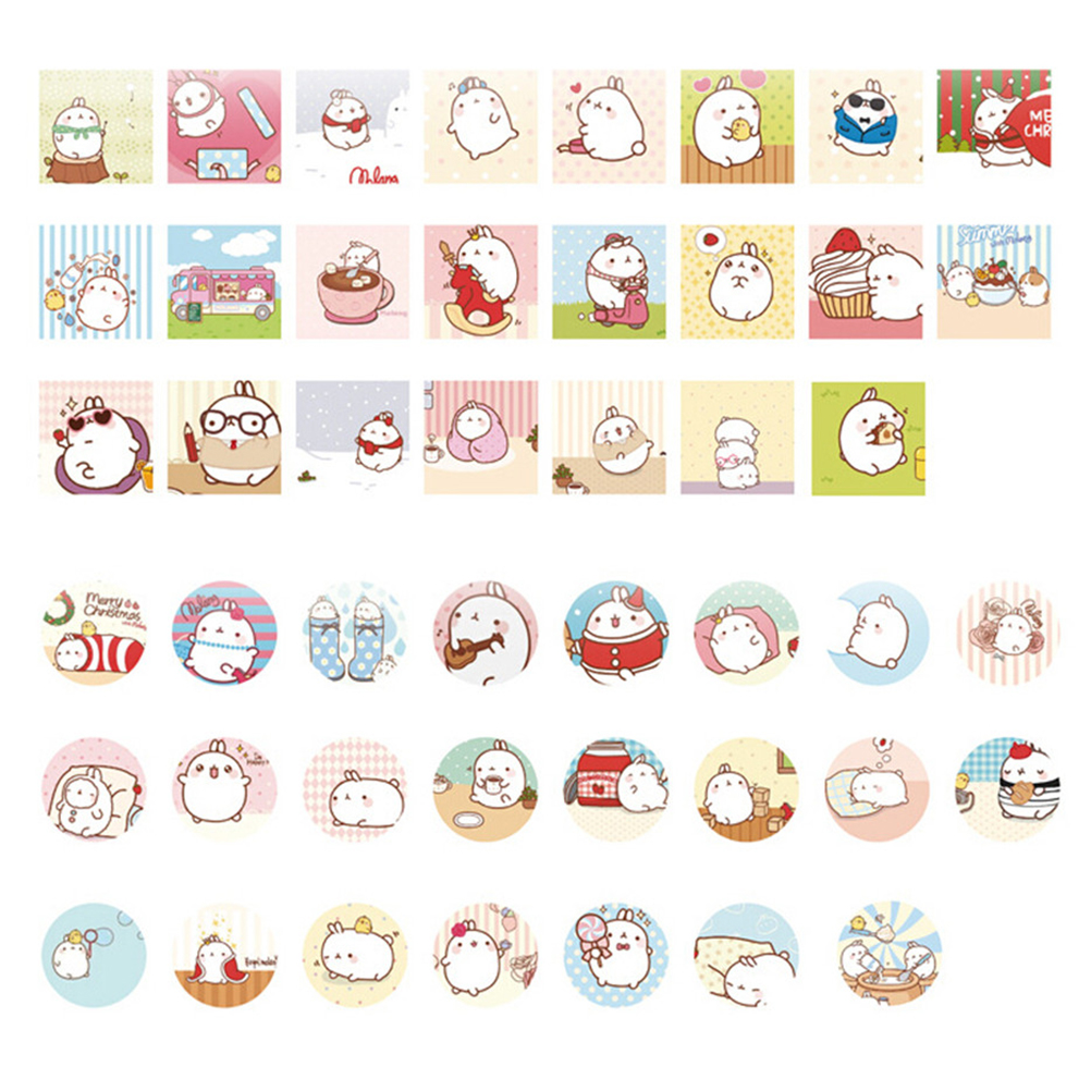 46pcs/pack Cute Cartoon Molang Rabbit Label Stickers Decorative Diary Stickers Scrapbooking Diy Album Stationery Stickers Office & School Supplies