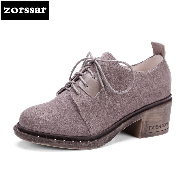 {Zorssar} 2018 new Suede female Oxford shoes Round toe High heels pumps Fashion Retro Lace-up Square heel womens leather shoes front lace up casual ankle boots autumn vintage brown new booties flat genuine leather suede shoes round toe fall female fashion