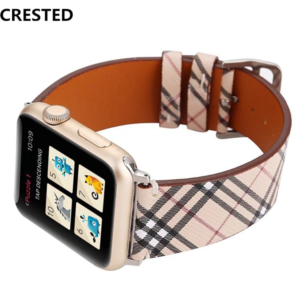 CRESTED Genuine Leather Strap For Apple Watch 4 Band 44mm/40mm correa iwatch series 3 2 1 42mm/38 Wrist Bracelet watchband belt crested genuine leather strap for apple watch 4 band 44mm 40mm correa iwatch serise 3 2 1 42mm 38mm double tour wrist bracelet