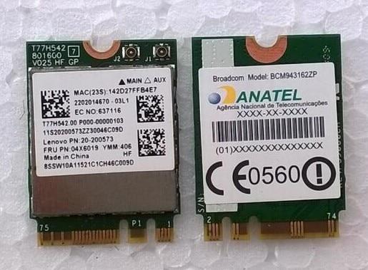 Broadcom bcm43162 1x1ac + bt4.0 m.2 combo card para lenovo e455, FRU: 04X6019