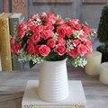 Flores artificiales de seda de flores 15 yemas 1 ramo de rosas caen vivid fake hoja decoración de la boda home party navidad ornamento ca