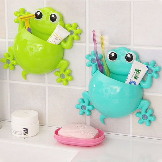 Cute Cartoon Sucker Gecko Toothbrush Box Container Wall Suction Phone Makeup Toothpaste Children Kids Holder Bathroom Sets