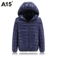 A15 Kids Jacket Winter Boys Clothes Teenage Girls Jackets And Coats Children Outerwear Warm Light Hooded