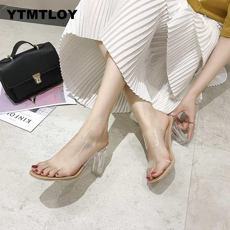 2020 HOT Clear Heels Slippers Women Sandals Summer Shoes Woman Transparent High Pumps Wedding Jelly Buty Damskie  High Heels