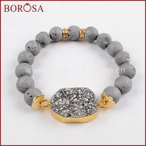 Image 5 - BOROSA 5 ピース新ゴールドカラーチタン Druzy ブレスレット 10 ミリメートルビーズ混合色のブレスレットジュエリーのための宝石バングル女性 G1536