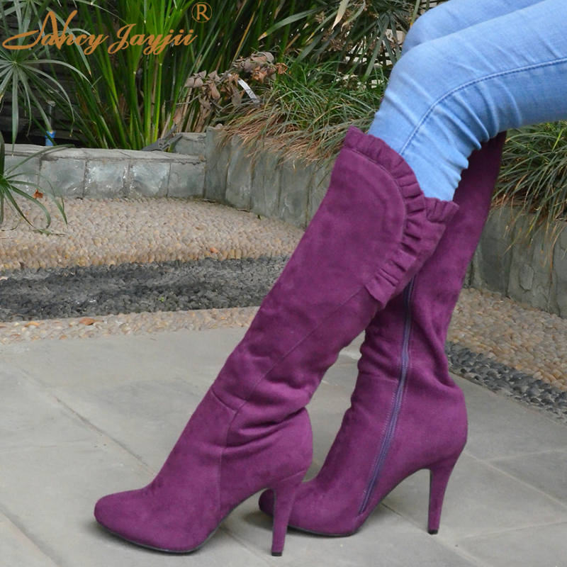 Nancyjayjii Purple Ruffles Knee High Boots Zipper Winter Round Toe Spike Heels Women Shoes Woman Botas Botines Zapatos Mujer