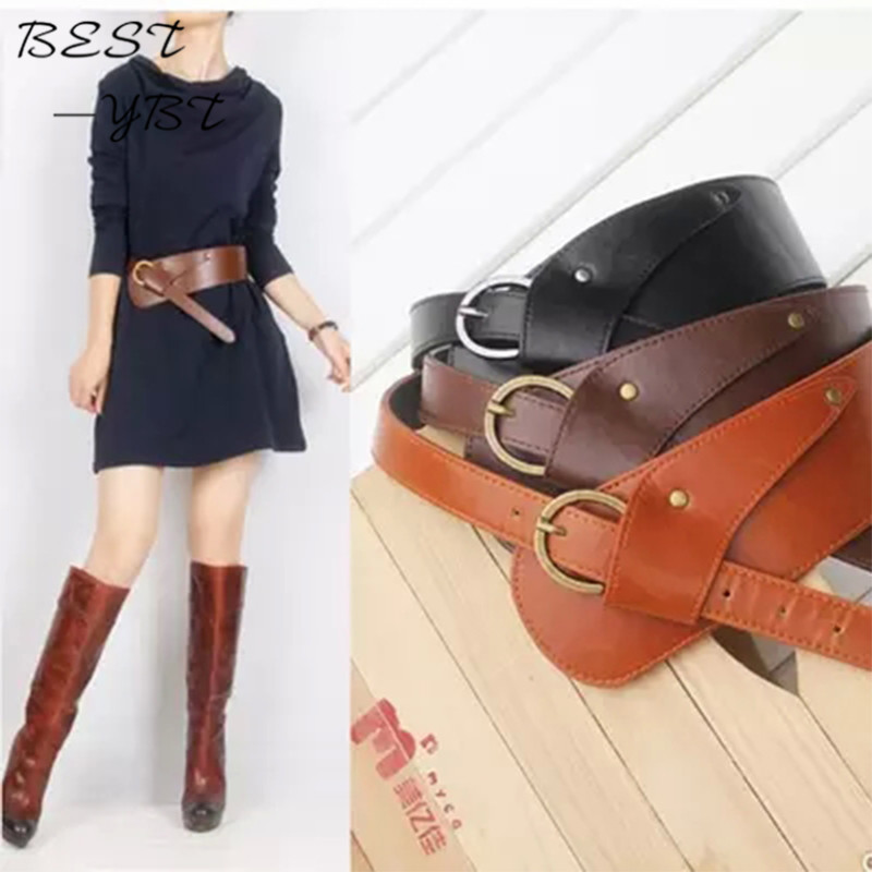 New Fashion   Belts   for Women PU Leather Vintage Waist oblique buckle wide strap cross body Women cummerbund   belt   Obi female wide