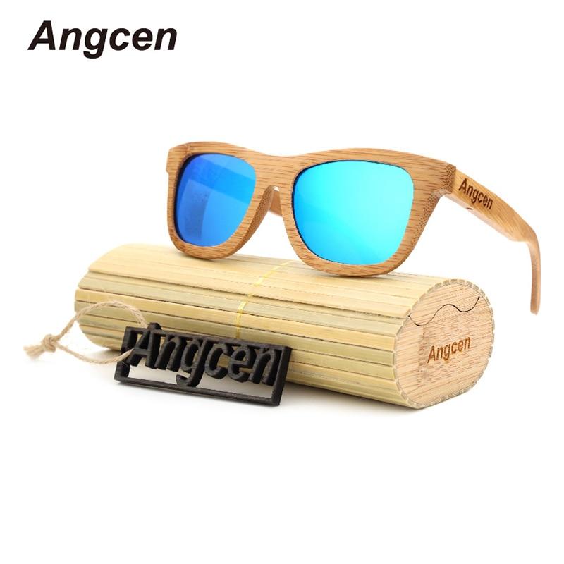 Angcen Dames Zonnebril Dames Gepolariseerde Retro Vintage Zonnebril Heren houten bamboe zonnebril merk designer vierkante bril