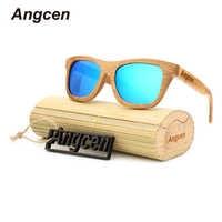 Angcen Ladies Sunglasses Women Polarized Retro Vintage Sun glasses Men wood bamboo sunglasses brand designer square glasses