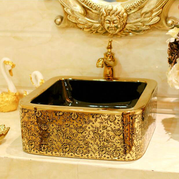 Gold Coating With Flower Decor Porcelain Wash Basin Ceramic Countertop Bathroom Sink China Mainland