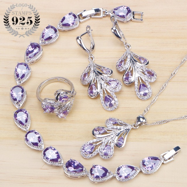 aad959730af1 Bridal Costume Jewelry Sets For Women Wedding 925 Sterling Silver Jewelry  Ring Bracelet Earrings Pendant Necklace Set Gifts Box