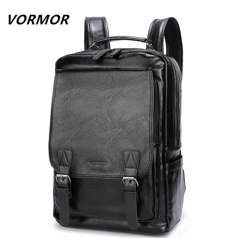 VORMOR Famous Brand Fashion Preppy Style Men School Backpack For Teenage Solid Black Leather Backpack Travel Backpack Bag