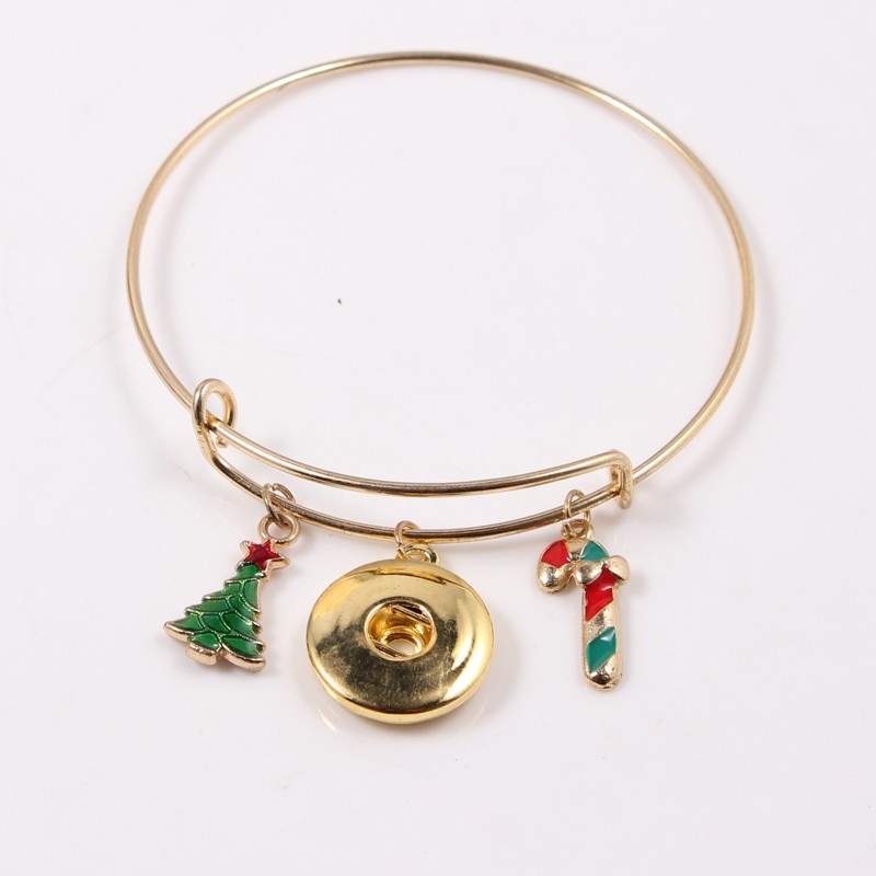 10PCS Golden Adjustable Christmas Style Charms Bracelet Jewelry Applicable To 18MM Button in Bangles from Jewelry Accessories