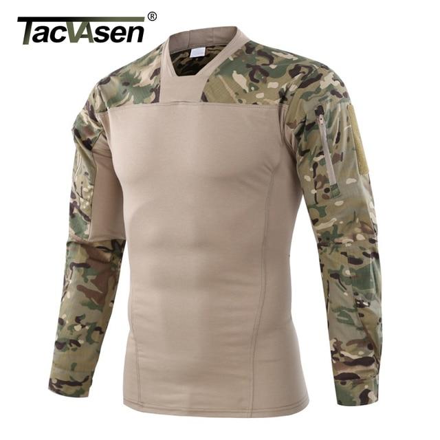 TACVASEN Для мужчин тактическая футболка Combat paintball футболка Для мужчин с длинным рукавом Военная камуфляжная футболка Для мужчин охоты футболки, верхняя одежда