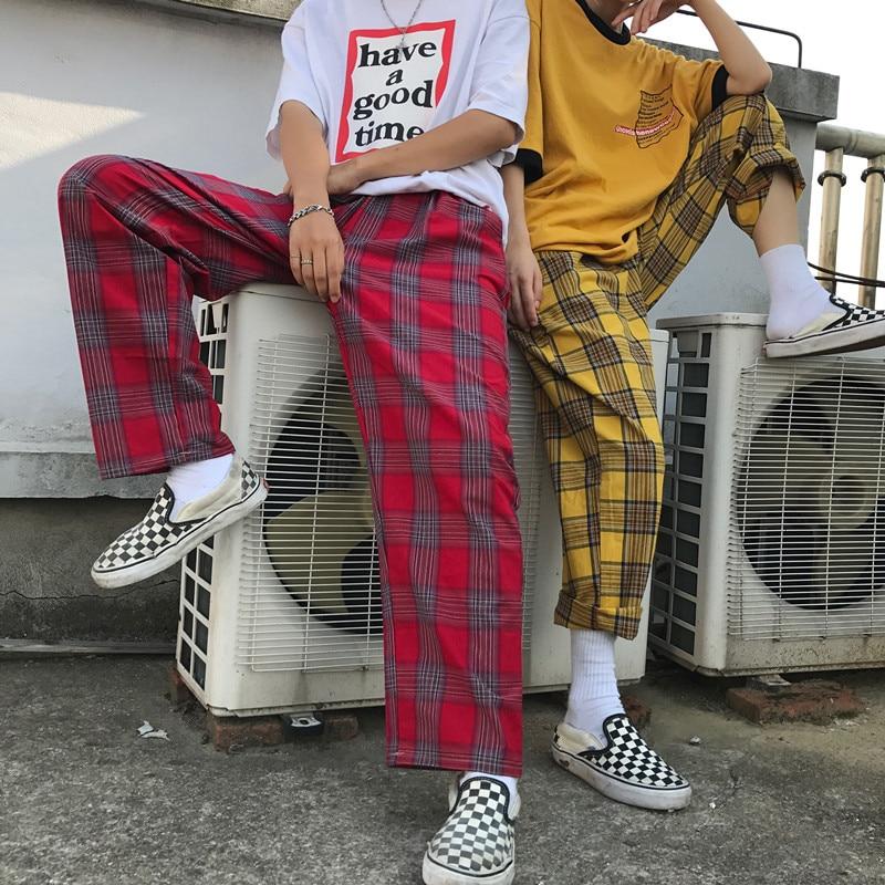 Runway 2018 fashion women's   pants   Korean version INS Harajuku style loose full length plaid mid waist streetwear   wide     leg     pants