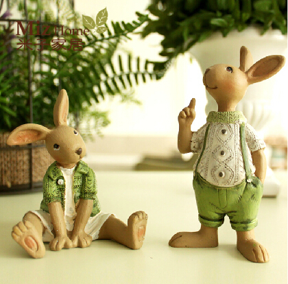Kawaii Resin Crafts Cute Cartoon Rabbit Decorative Furnishing