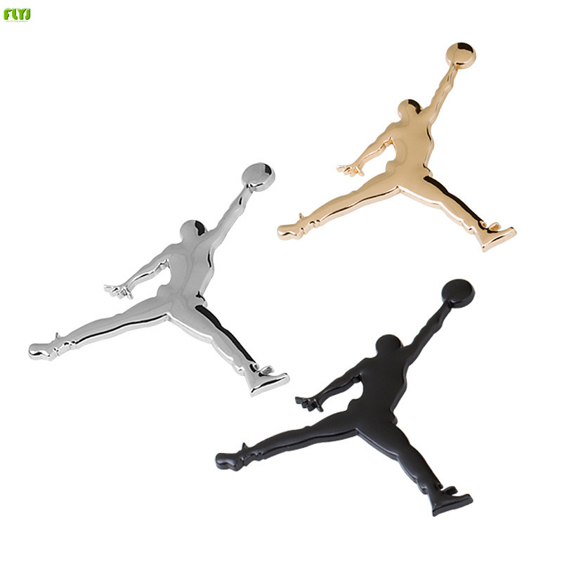 FLYJ NBA Metal 3D Jordan Jumpman Car Sticker Decor Metal emblem Car badge Logo Motorcycle Emblem Car Styling Accessories dsycar 3d metal sport car sticker emblem badge for for universal cars motorcycle car styling decorative accessories chevrolet ds