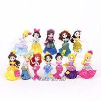 Princesses Toys Dolls Snow White Belle Rapunzel Ariel Jasmine Elsa Anna Merida Mulan Aurora PVC Figures