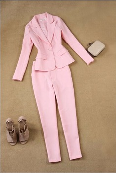 CUSTOM Pink 2 Piece set Women Business Suits Formal Office Suits Work One Button Slim Fit Female Trouser Elegant Pant Suits W76