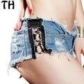 2016 Verano Sexy Cintura Baja Pantalones Cortos de Mezclilla Mujeres de Moda Jeans Rasgados Cortos Pantalones Cortos Mujer #161233